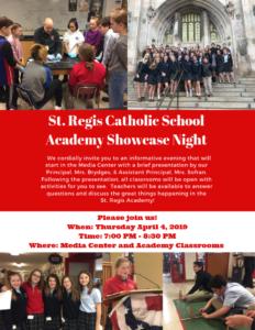 St. Regis Catholic School Academy Showcase Night @ St. Regis Catholic School