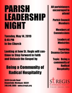 Parish Leadership Night for all Groups, Councils, and Commissions @ St. Regis Church and Chapel