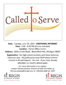 Called to Serve for Teens @ St. Regis